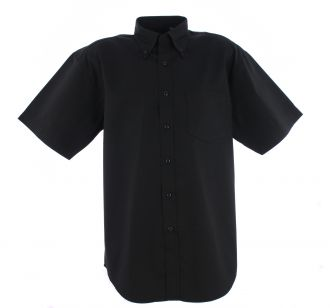 Mens Pinpoint Oxford Shortsleeve Shirt - Black - 17.5 Inches