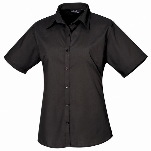 f6a21c95 Short Sleeve Poplin Blouse - Black - Size 18