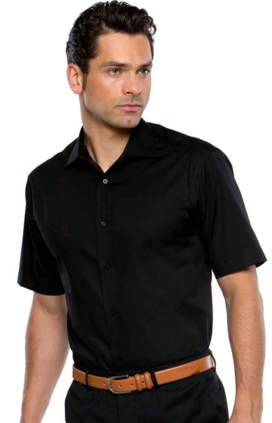 Pinpoint Oxford - Short Sleeve Black - Collar Size 17.5""