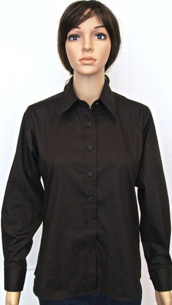Ladies Pinpoint Oxford Long Sleeve Shirt Black - Size 18